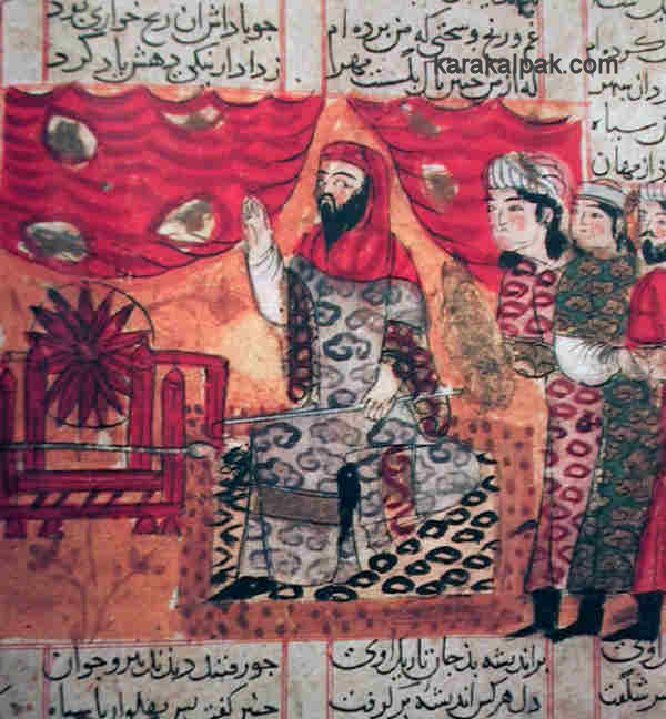 Bahram Chubina wears the woman's clothes sent by Hurmuzd
