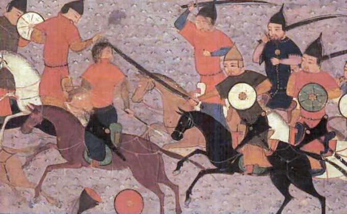 Chinggis Khan in pursuit of the enemy